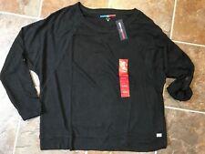 NWT TOMMY HILFIGER SPORT Women's Black Sweater Shirt Roll Sleeve Sz XL