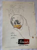 Vintage London News Magazine Advert Grants Whisky Ephemera 1954 Display