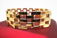 18K Yellow gold GF Solid Wide Watch band  Men's Charm  bracelet  8.5' 22cm