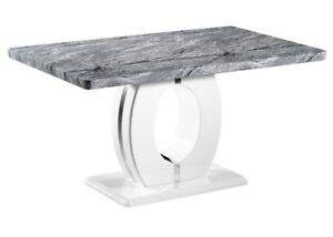 Grey and white marble effect dining table, Marble effect table with circle base