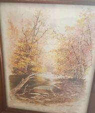 """Vintage Lew Stamm Print - """"BROOKSIDE"""" - Vintage Carved Wooden Frame Under Glass"""