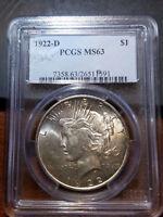 1922-D Peace Dollar MS 63 PCGS        11401-75