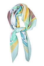 *HERMES* SMILES IN THIRD MILLENARY SILK SCARF 90cm