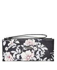 Guess Avery Elongated Wristlet Wallet Purse Zip around Clutch Floral print Black