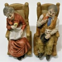 Lipco Ceramic Figurines Old Women & Man in Rocking Chairs Reading & Smoking Pipe