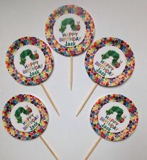 12 x Personalised The Very Hungry Caterpillar  Birthday Cup Cake Toppers