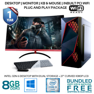 Intel Gen 6 Computer Office Desktop with 27in Curved 1080P Monitor PCI WIFI HDMI
