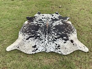 Large Cowhide Rugs Black Real Hair on Cow Hide Skin Area Rug Decor 6 x 5.5 ft