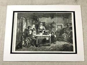 1856 Print Victorian Slum Poverty Poor Family Social History Original Antique