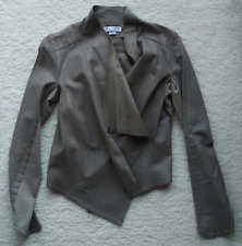 LaMarque waterfall leather drape front jacket