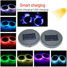 Car Solar Cup Holder Bottom Pad LED Light 7 Colorful Solar charging Decoration