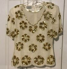 Vintage Stenay Floral Beaded Sequined Gold And White Formal Top - Size Small