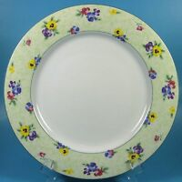 Nikko PANSIES Dinner Plate (s) Floral Flowers Green Rim