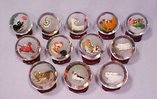 Chinese Reverse Painted Complete Set 12 New Year Calendar Glass Balls w/ Stands