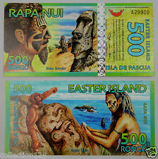 EASTER ISLAND 500 RONGO POLYMER BANKNOTE 2012 UNC