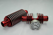 Raptor 660 ENGINE SUPER COOLER INLINE TEMP GAUGE COMBO RADIATOR RED ANODIZED