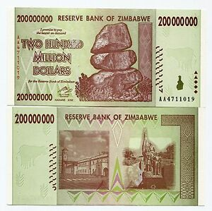 Zimbabwe 200 Million Dollars Banknote 2008 UNC P81 Part of 100 Trillion Series