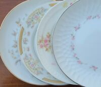 "4 Mismatched China 6"" Bread Dessert Plates Soft Pink Blue Green Florals"