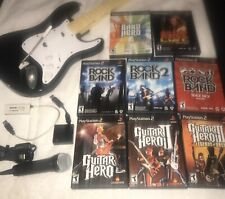 Sony PS2 8 Game Lot & Wireless Guitar Hero/Rock Band Fender Guitar & Microphone