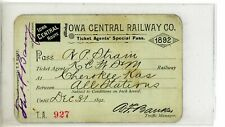 1892 Iowa Central Railway Company Ticket Agents Pass