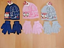 Disney Minnie Mouse Kids Girls Hat Pull on Hats & Gloves Grey Black Pink 2-8yrs 2-5 Years Navy