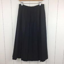 Vintage Brooks Brothers Wool Skirt 14 Pleated Heavy Long Modest Midi Black Lined