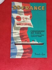 Depliant tourisme 1965/Plan du SS FRANCE Croisière de Noël/Cie Transatlantique