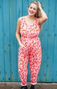 Lucy And Yak Juni Pink Boilersuit Jumpsuit Size Medium in Eve Print RRP £58 NEW
