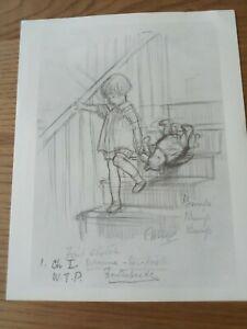 Winnie The Pooh, pencil drawing, by E H Shepherd, print copy