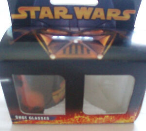 STAR WARS SHOT GLASS SET OF 6 SHOT GLASSES UNUSED & BOXED (WEAR TO OUTER BOXES)