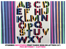"Iron On Letters Fabric - Geometric Stripes - 1.5"" Cotton 1-5 Letters for £3!!"