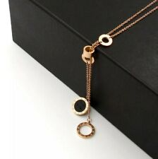 -we❤- Timeless Roman Numbers Rose Gold Color Bvlagari Style Necklace