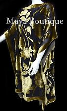 Caftan Dress Kimono Silk Burnout Velvet Antique Gold Blk Hand Dyed Maya Matazaro