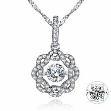 Dancing GEMSTONE 925 Sterling Silver Cubic Zirconium Pendant Necklace 18 Inches