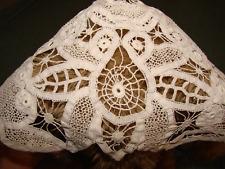 Antique Battenburg Lace Baby Bonnett - White
