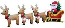 Christmas Air Blown LED Inflatable Yard Decoration Santa Claus Reindeer Sleigh