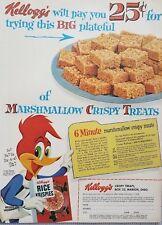 1957 Kelloggs Rice Krispies Woody Woodpecker Breakfast Cereal Vintage Print Ad