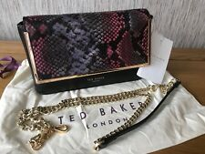 fc5d734c1fd12 TED BAKER BLACK LEATHER WITH SNAKESKIN EFFECT PANEL ABBY CLUTCH CROSSBODY  BAG