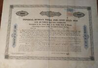 Russian 1859 Imperial Loan £100 Pounds Revenue NOT CANCELLED Bond Share Stock