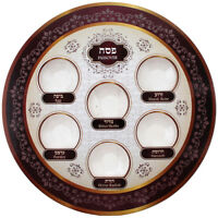 Seder Plate  Passover Pessach  Bright & Burgundy Colors  - Disposable
