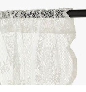"NEW BOHO FARMHOUSE OFF WHITE LACE CURTAINS IKEA ALVINE SPETS 2 Panels 57x98"" x2"