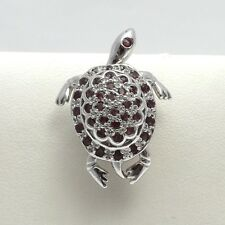 New Silver Natural Ruby Diamond 3D Articulated Sea Turtle Brooch Pin Pendant