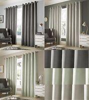 Blackout Thermal Lined Curtains Eyelet Ring Top Grey Green Natural