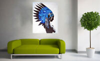 framed canvas print Indian Blue Feather Native American street art painting