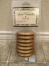 Luxe Versailles Clip Rings Curtains Valances In Gold Cider Pack Of 7 Measures 1