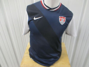 VINTAGE NIKE USA NATIONAL MEN'S FOOTBALL TEAM DRI-FIT SMALL BLU JERSEY 2012 KIT