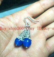 New Charming 10mm Blue Sapphire Tibetan silver Earrings