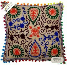 Embroidered Throw Cushion Case 16x16 Jute Xmas Gift Vintage Suzani Pillow Cover
