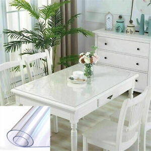 PVC Wipe Clean Transparent Tablecloth Waterproof Table Protection Cover All Size
