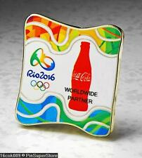 OLYMPIC PINS BADGE 2016 RIO DE JANEIRO BRAZIL COKE COCA COLA WORLDWIDE PARTNER